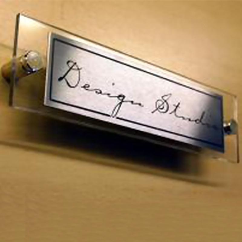 Metal label for office door